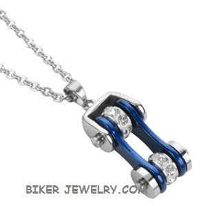 Pendant with Chain  Chrome/Candy Blue  Motorcycle Bike Chain  Stainless Steel  FREE SHIPPING - Product Image