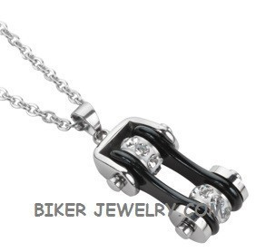 Pendant with Chain  Silver and Black  Motorcycle Bike Chain  Stainless Steel  FREE SHIPPING - Product Image