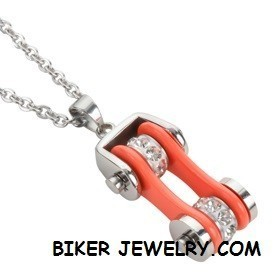 Pendant with Chain  Silver and Orange  Motorcycle Bike Chain  Stainless Steel  FREE SHIPPING - Product Image