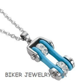 Pendant with Chain  Silver/Blue  Motorcycle Bike Chain  Stainless Steel  FREE SHIPPING - Product Image