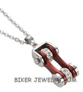Pendant with Chain  Silver/Deep Candy Red  Motorcycle Bike Chain  Stainless Steel  FREE SHIPPING - Product Image