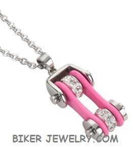 Pendant with Chain  Chrome/Pink  Motorcycle Bike Chain  Stainless Steel  FREE SHIPPING - Product Image