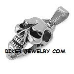Pendent  Rope Chain  Stainless Steel  Mean Skull   4 Lengths  FREE SHIPPING - Product Image