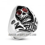 Reaper Ring With Red Eyes Stainless SteelSizes 8-16 FREE SHIPPING - Product Image