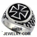 Round Stainless SteelBiker Iron Cross RingSizes 9-15FREE SHIPPING - Product Image