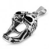 Pendant  with a  Rope Chain  Screaming Skull  Stainless Steel  4 Lengths  FREE SHIPPING - Product Image
