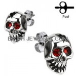 EARRINGS  Stainless Skull W/ Red Eyes  FREE SHIPPING - Product Image