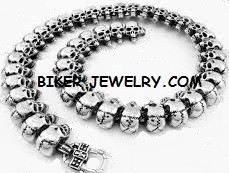 CLOSE OUTStainless Steel Biker Cracked Skull NecklaceAvailable in 6 SizesFREE SHIPPING - Product Image