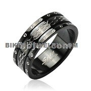 Men's Wedding Band  Stainless Steel Black  Dimond Cut Band  Sizes 9-14  FREE SHIPPING - Product Image