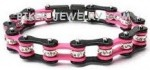 Ladies  Black and Pink  Bling Bracelet  with Crystals  Stainless Steel  4 Lengths  FREE SHIPPING - Product Image