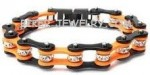 Stainless Steel  Black /Orange   Ladies Bling  Motorcycle Bracelet  with Crystals  4 Lengths  FREE SHIPPING - Product Image