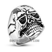 Stainless Steel Cracked Skull Biker RingSizes 9-15 FREE SHIPPING - Product Image