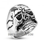Stainless Steel Cracked Skull Biker RingSizes 9-15 FREE SHIPPING - Product Image