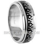 Stainless Steel Flame Spinner RingSizes 8-17FREE SHIPPING - Product Image