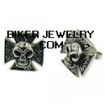 CLOSE OUT  Stainless Steel Biker Iron Cross Earrings With Skull  FREE SHIPPING - Product Image