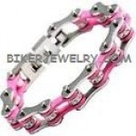 Ladies  Stainless Steel  Chrome an Pink  Bling Motorcycle Bracelet  with Crystals  4 Lengths  FREE SHIPPING - Product Image