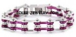 Ladies  Stainless Steel  Chrome/Candy Purple  Bling Motorcycle Bracelet with Crystals  4 Lengths  FREE SHIPPING - Product Image