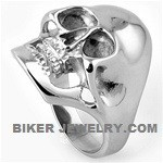 Stainless Steel Large Man's Biker Skull RingSizes 9-15FREE SHIPPING - Product Image
