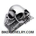Stainless Steel Men's Skull Biker Ring with Wings  Sizes 10-16  FREE SHIPPING - Product Image