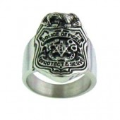 Stainless Steel Police Officer Policeman Badge Ring Sizes 8-16FREE SHIPPING - Product Image