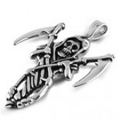 Reaper Pendent  on a Rope Chain   Stainless Steel   3 Lengths  FREE SHIPPING - Product Image