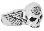 Sterling Silver  Harley Davidson ®  Willie G Skull  Men's Ring  Available in Sizes 9-15 - Product Image