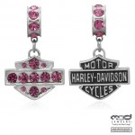 RIDE BEAD  Sterling Silver  Pink Crystal  Harley Davidson ®  by Mod Jewelry ®  Does fit Pandora  ® - Product Image