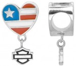 Ride Bead  Harley Davidson ®  Sterling Silver  Heart Flag  Does fit Pandora  ® - Product Image