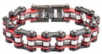 Men's  Tri Color  Red/Black/Chrome  Stainless Steel  Motorcycle Biker Chain Bracelet  3 lengths  FREE SHIPPING - Product Image