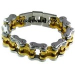 Two Tone  Wide and Heavy Gold and Stainless Steel Biker Chain Bracelet  FREE SHIPPING - Product Image