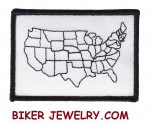 """USA Map  Motorcycle Patch  3 1/2 """" x 2 3/4 """"  FREE SHIPPING - Product Image"""
