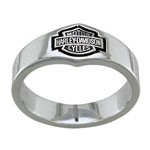 Unisex Harley-Davidson ® Sterling Silver Wedding BandAvailable in Sizes 9-15  - Product Image