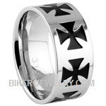 Unisex Wedding Band  Stainless Steel Iron Cross  Sizes 5-15 FREE SHIPPING - Product Image
