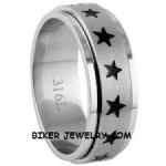 Unisex  Stainless Steel  Large Star  Wedding Band  Spinner Ring  Sizes 5-14  FREE SHIPPING - Product Image