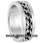 Unisex Stainless Steel  Wedding Band Chain  Spinner RingSizes 5-15FREE SHIPPING - Product Image