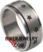 SPINNER RING  Unisex  Stainless Steel  Small Star  Wedding Band  Sizes 5-14  FREE SHIPPING - Product Image