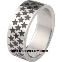 Wide Star  Stainless Steel  Wedding Band  Sizes 5-13  FREE SHIPPING - Product Image