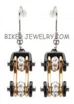 EARRINGS  Women's  Stainless Steel  Black and Gold  Bling Motorcycle  Bike Chain Earrings  FREE SHIPPING - Product Image