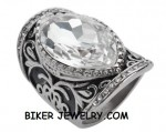 Women's  Stainless Steel  Huge Crystal Ring  Sizes 6-10  FREE SHIPPING - Product Image