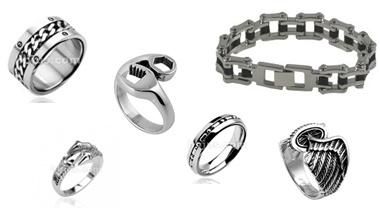 Biker Jewelry Rings Bracelets Harley Davidson Stainless Steel