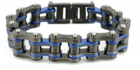 3/4 inches Wide Stainless Steel Motorcycle Bike Chain Bracelet Gunmetal with Blue Police Stripe  FREE SHIPPING - Product Image