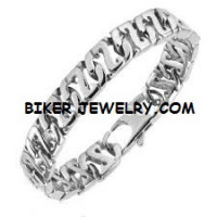 BRACELET  Stainless Steel  Designer Curb Link  8 1/2  Inches  FREE SHIPPING - Product Image