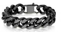 Black Stainless Steel Bracelet Designer Cuban Link 3 lengths   FREE SHIPPING - Product Image