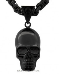 Black Stainless Steel Necklace and Large Skull  FREE SHIPPING - Product Image