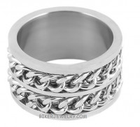 Double Chain Cuban Link Spinner Ring Stainless Steel Wide Wedding Band  Sizes 8-15 - Product Image