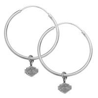EARRINGS Harley-Davidson® Mod Jewelry® Sterling Silver 35mm Hoop Earrings With Double Sided LogoHDE0139  - Product Image