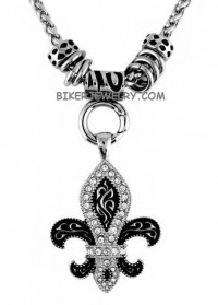 Fleur De Lis Ladies Charm Pendant Stainless Steel Motorcycle Jewelry  BLING  FREE SHIPPING - Product Image