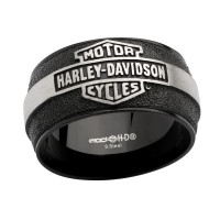 Harley-Davidson ®  Black Stainless Steel Men's Motorcycle Biker Wedding Band Mod Jewelry® Available in Sizes 9-16HSR0048 - Product Image