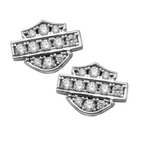 Harley-Davidson® Motorcycle Sterling Silver Biker Bling Logo Small Post Earrings Mod Jewelry® HDE0282 - Product Image