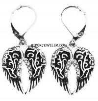 Ladies Biker Dangle Angel Wing Earrings Stainless Steel  FREE SHIPPING - Product Image